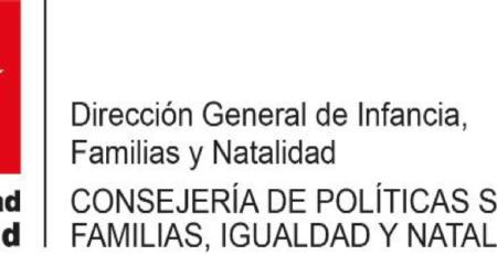Logo Dirección General de Infancia Familias y Natalidad Comunidad de Madrid. Consejería de políticas sociales, familias, igualdad y natalidad