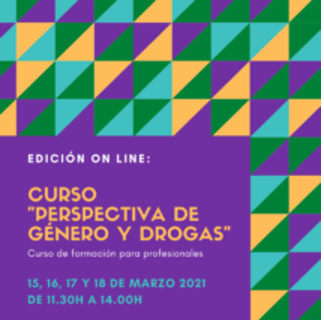 Cartel del curso perspectiva de género y drogas